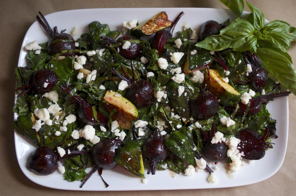 Wilted Kale Salad with Roasted Vegetables and Honey Balsamic Dressing
