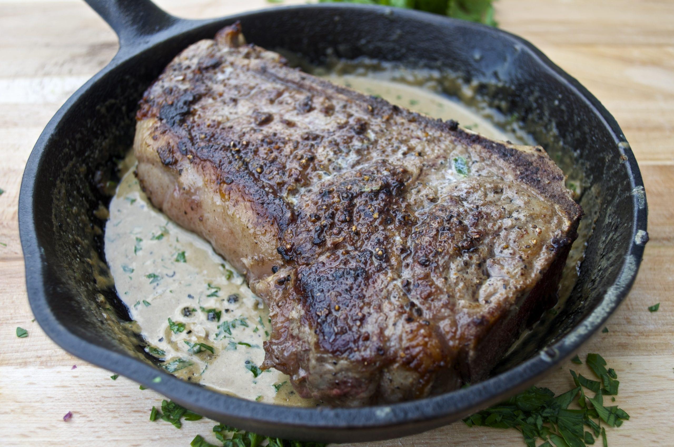 New York Strip Steak with Bourbon Peppercorn Cream Sauce
