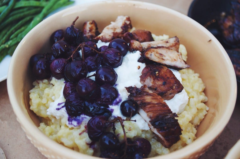 Parmesan Risotto with Balsamic Glazed Chicken Thighs and Roasted Grapes