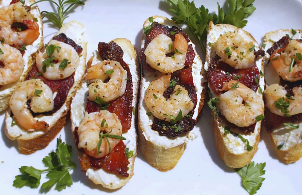 Shrimp and Candied Bacon Crostini