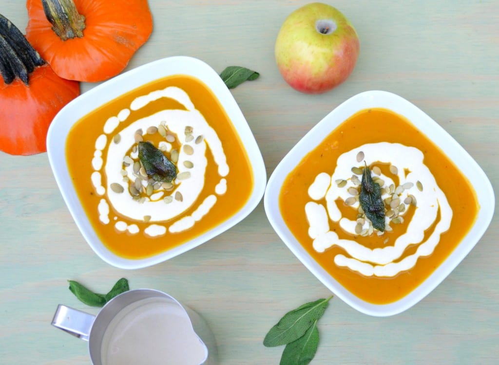 Roasted Pumpkin and Apple Soup with Browned Butter Sage Cream -