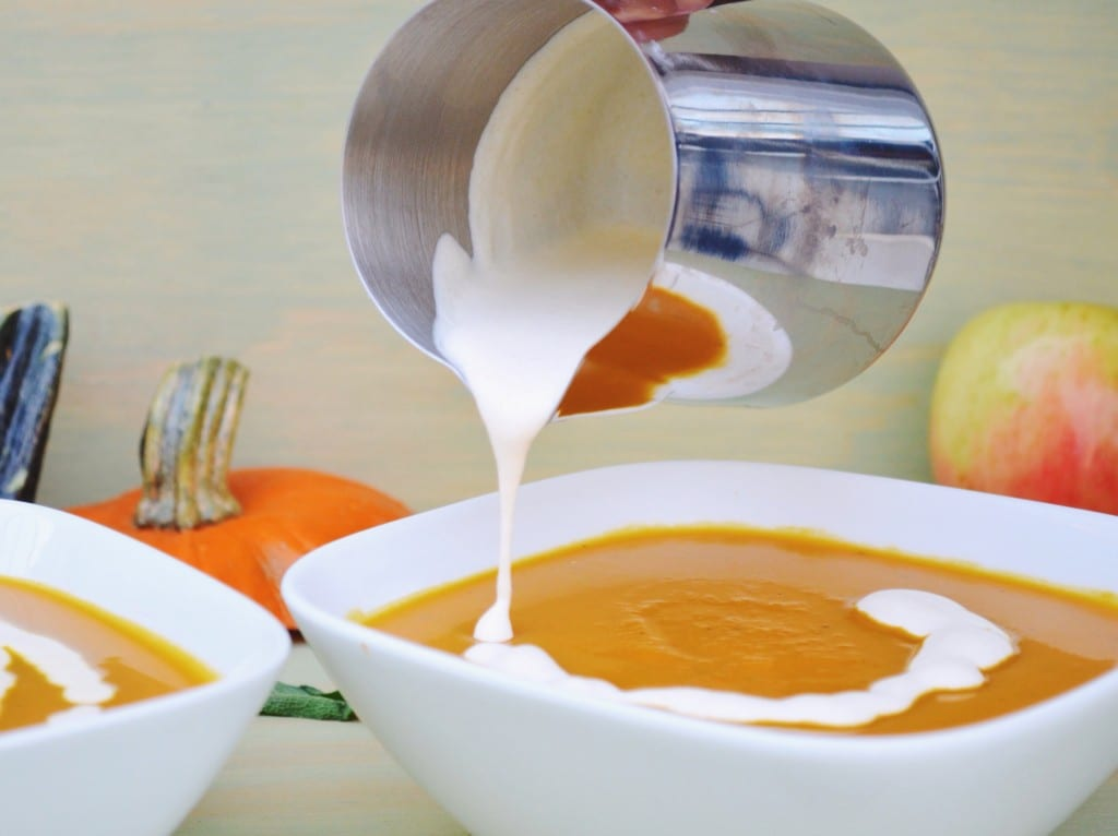 Roasted Pumpkin and Apple Soup with Browned Butter Sage Cream