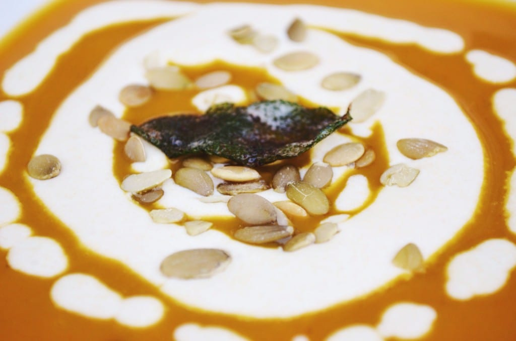 Roasted Pumpkin and Apple Soup with Browned Butter Sage Cream | My ...