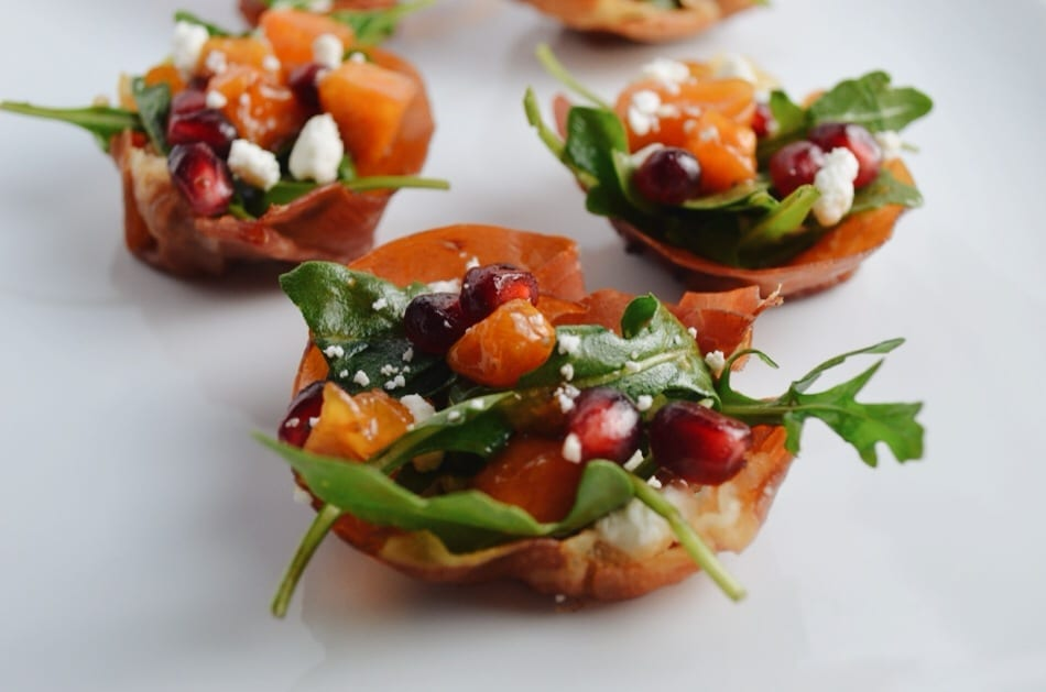 Prosciutto Salad Cups with Pomegranate and Persimmon