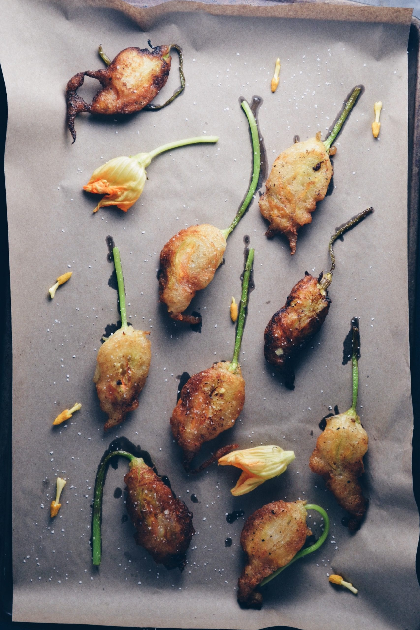 Fried Squash Blossoms Stuffed with Pumpkin Butter Ricotta