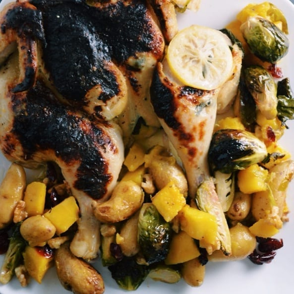 Juicy Brined Chicken and Roasted Fall Vegetables