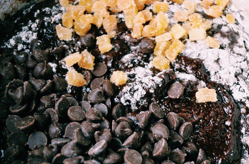Fudgy Dark Chocolate Double Ginger Brownies