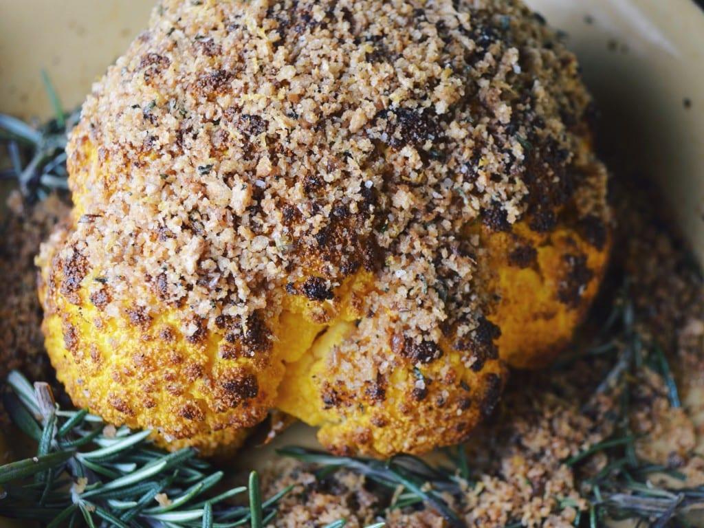 Whole Roasted Cauliflower with Lemony Toasted Breadcrumbs