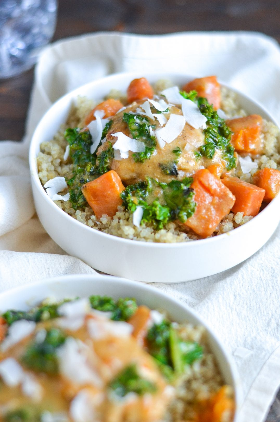 Coconut Braised Chicken Thighs with Kale and Sweet Potatoes