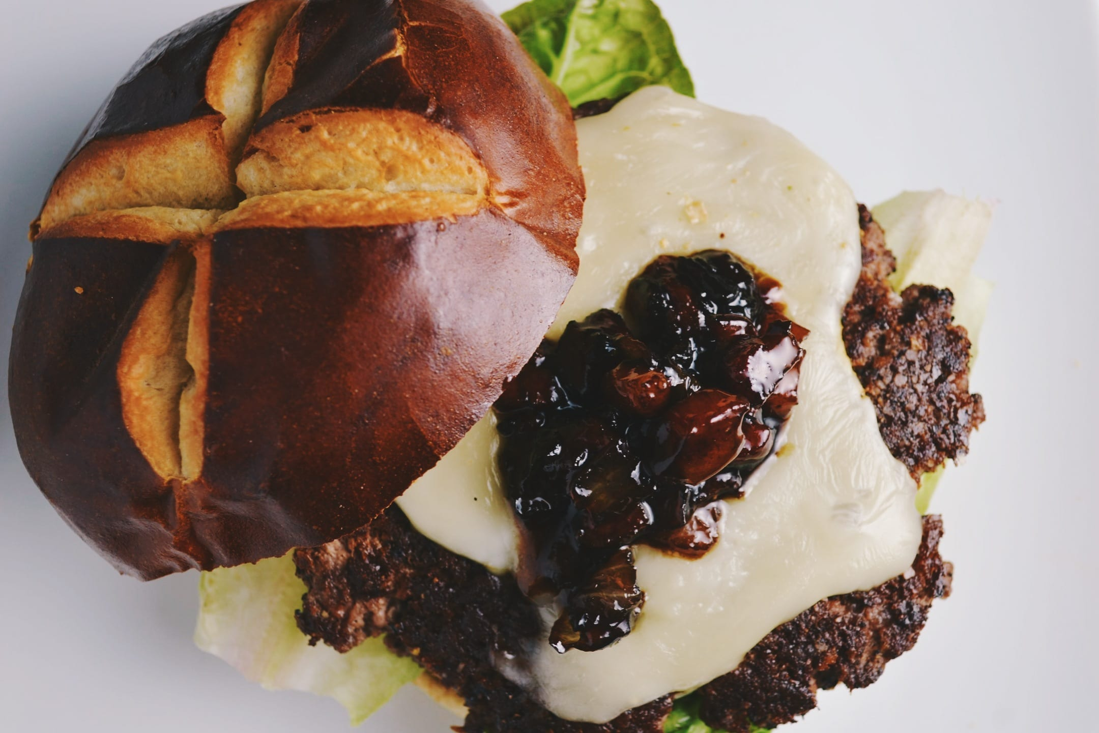 Bison Burgers with Pancetta Balsamic Jam