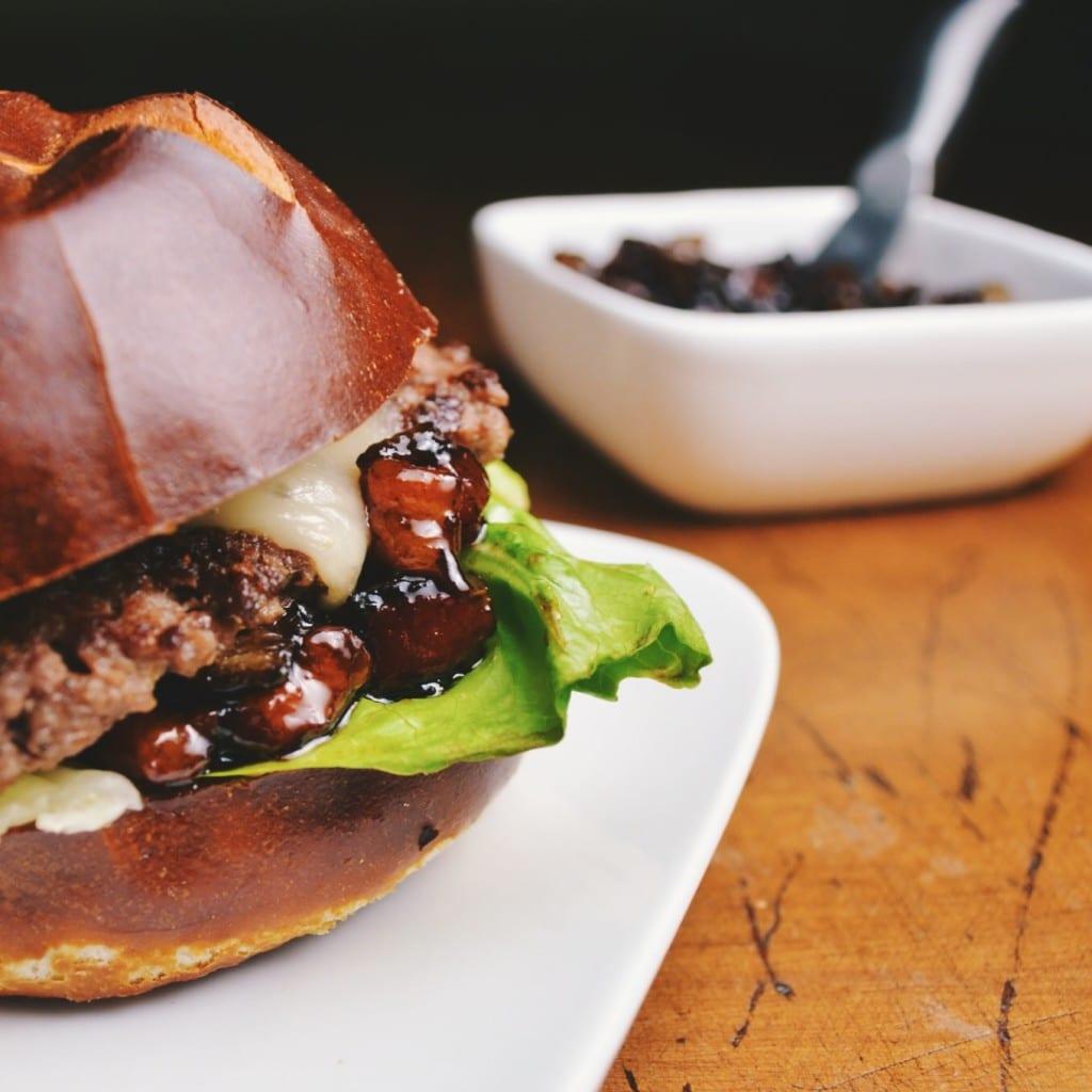 Bison Burgers with Pancetta Balsamic Jam