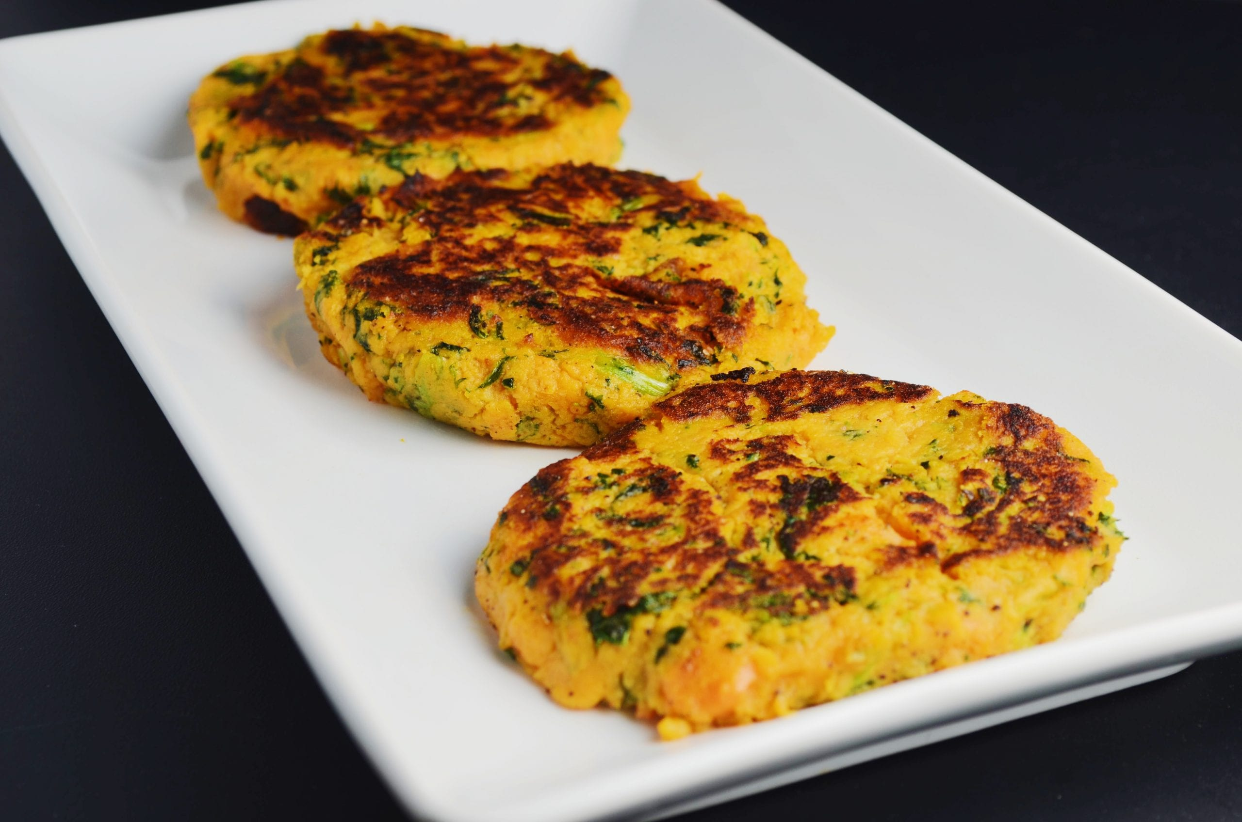 Crispy Sweet Potato Kale Cakes