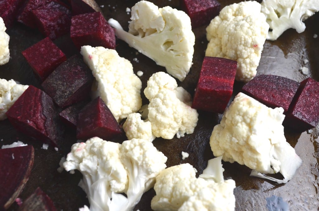 Garlicky Roasted Cauliflower and Beet Dip