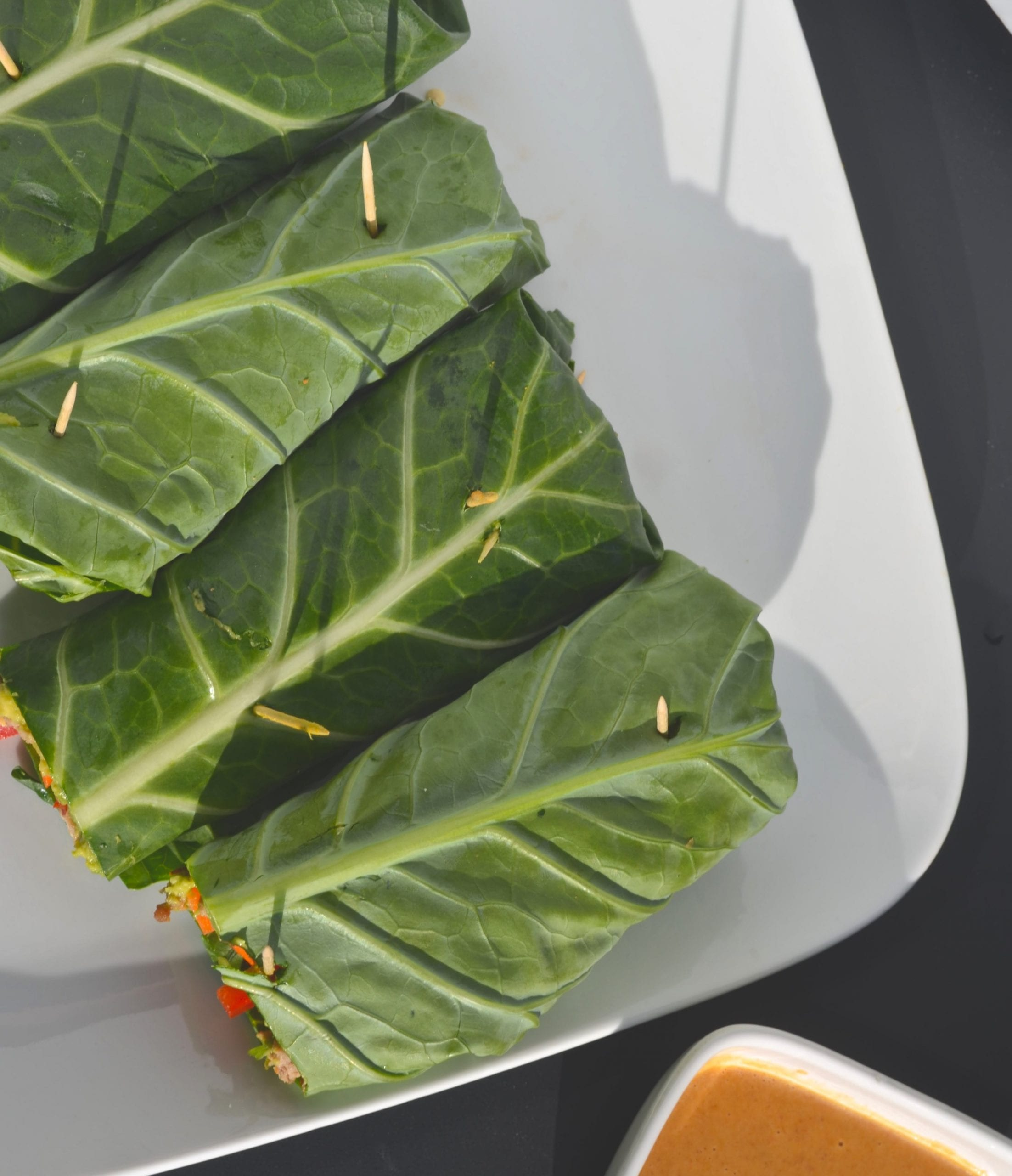 Collard Wraps with Spicy Almond Butter Sauce