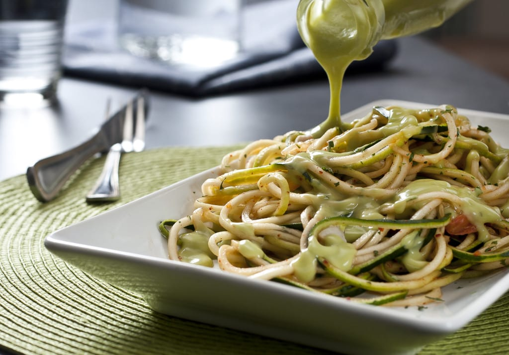 Kimchi Zoodles with Creamy Avocado Sauce
