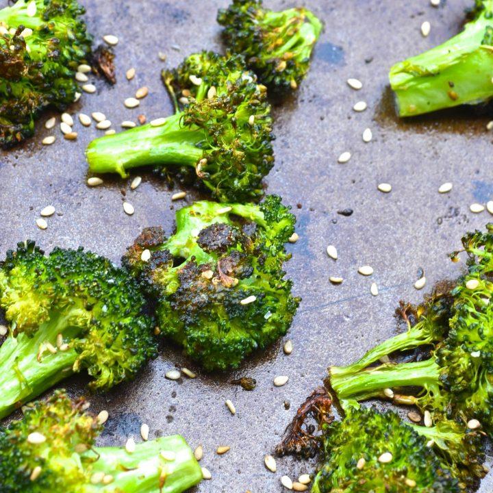Ginger Sesame Roasted Broccoli