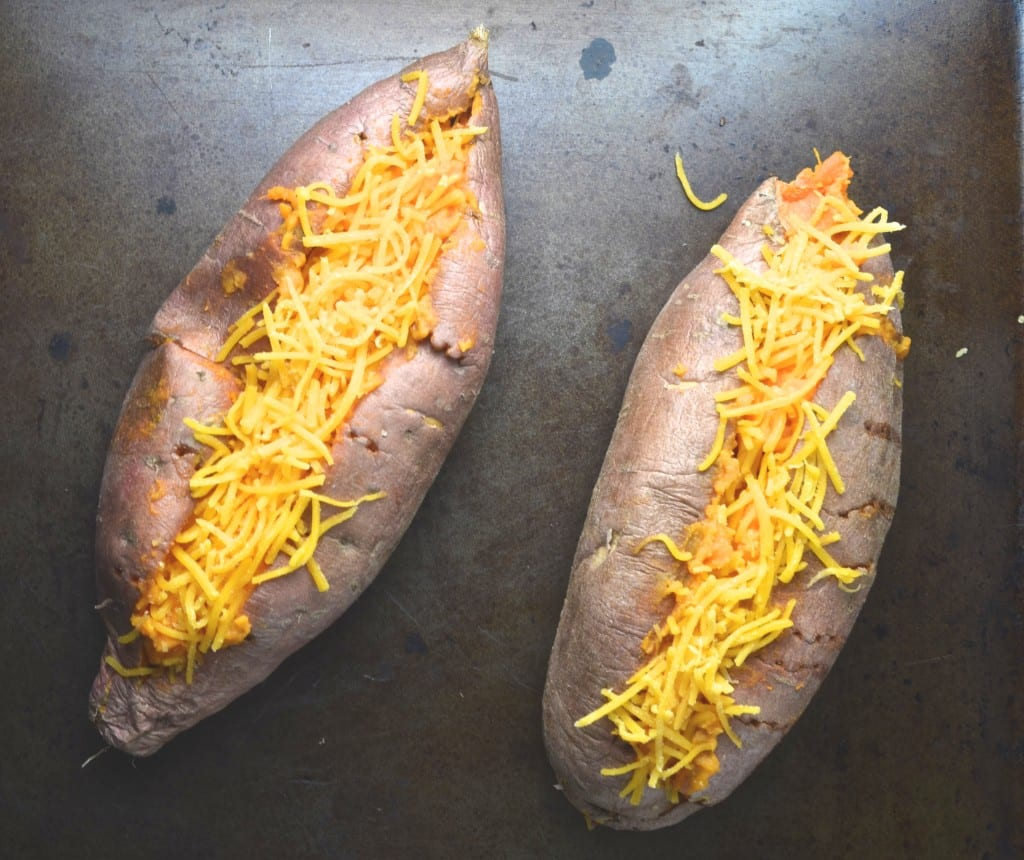 Chipotle Twice Baked Sweet Potatoes: Chipotle Cheddar Twice Baked Sweet Potatoes