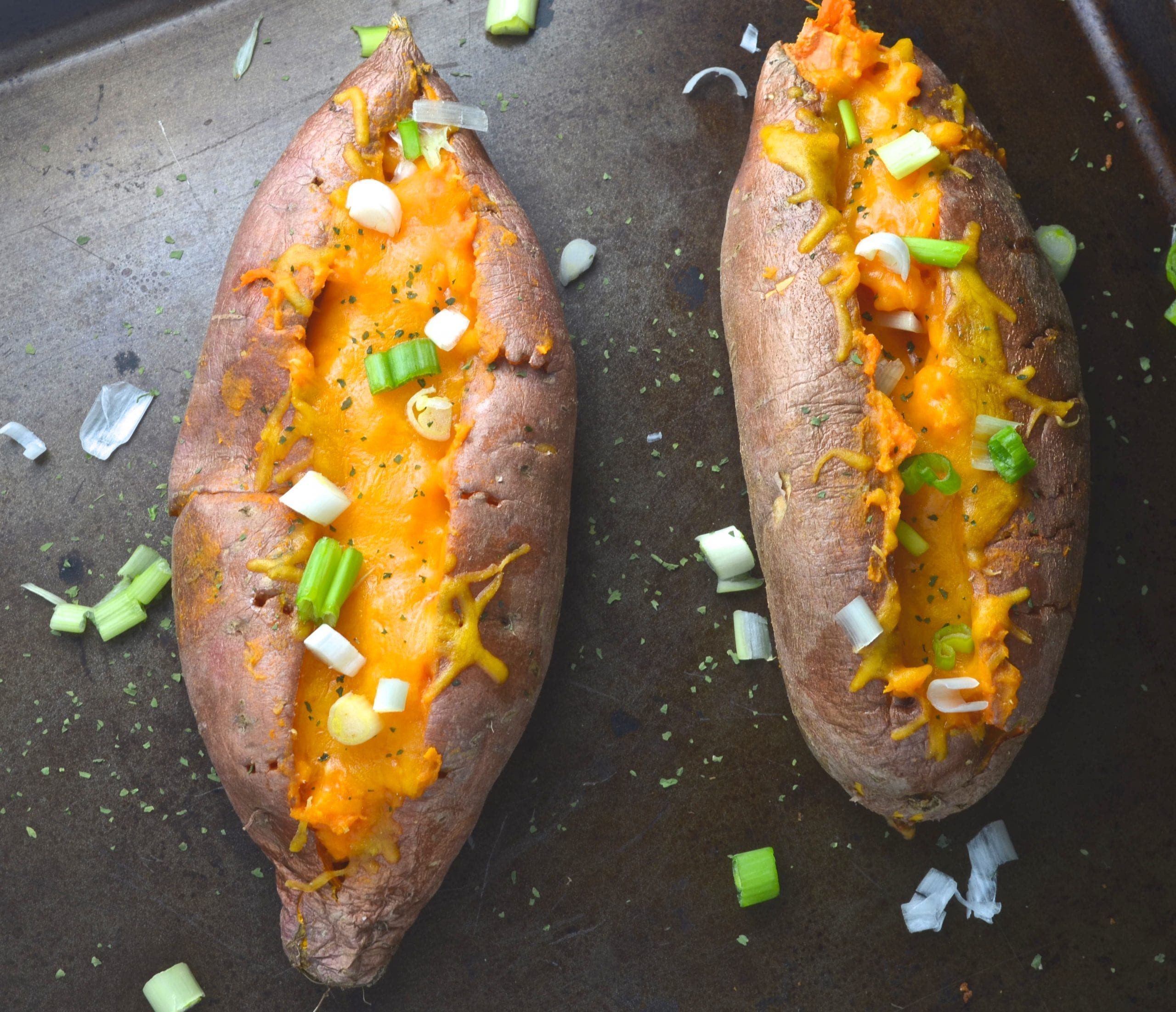 Chipotle Cheddar Twice Baked Sweet Potatoes