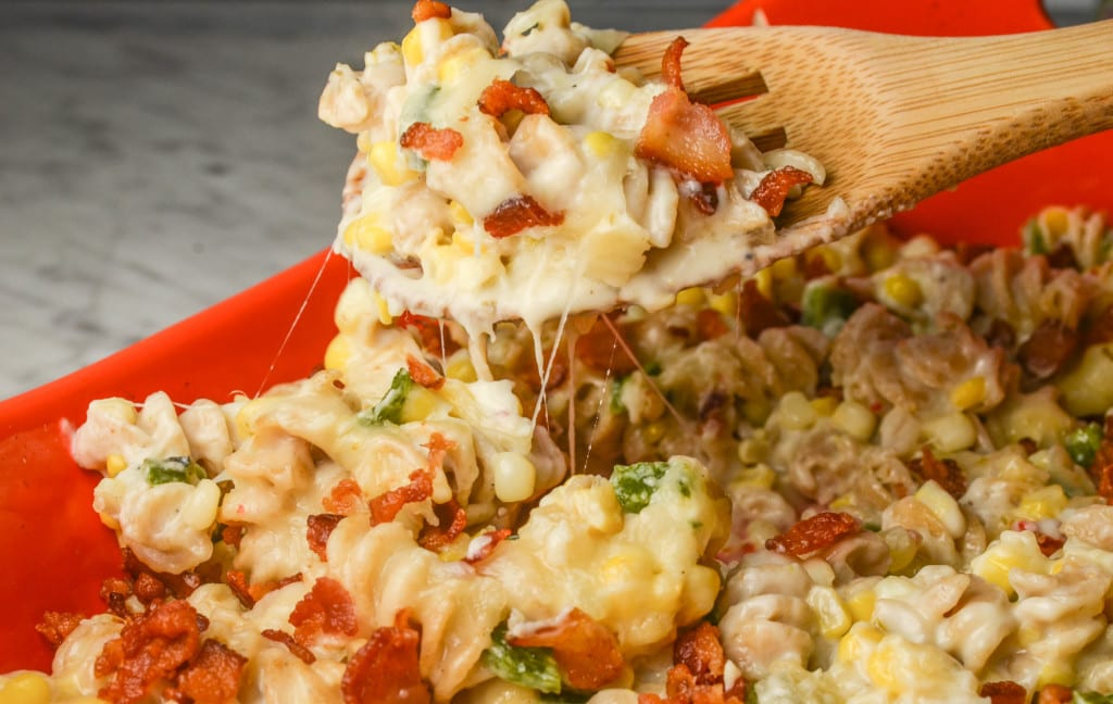 Corn and Poblano Mac and Cheese with Bacon