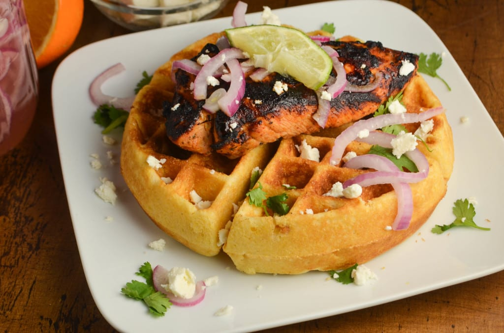 Pollo Asado & Cornmeal Waffles with Tequila Lime Maple Syrup