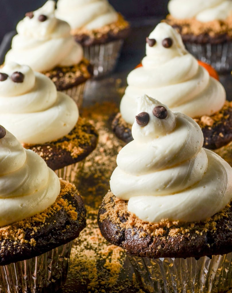 close up of ghost cupcakes