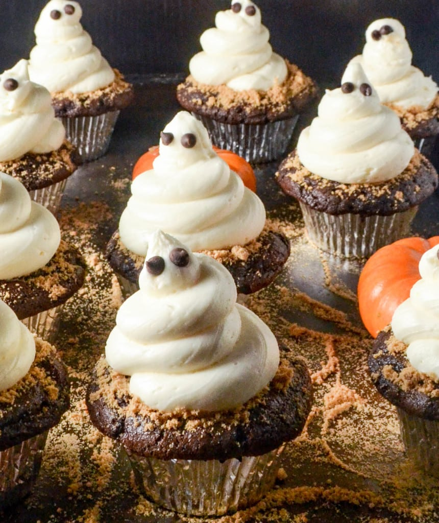 Ghost cupcakes dusted with crushed graham cracker