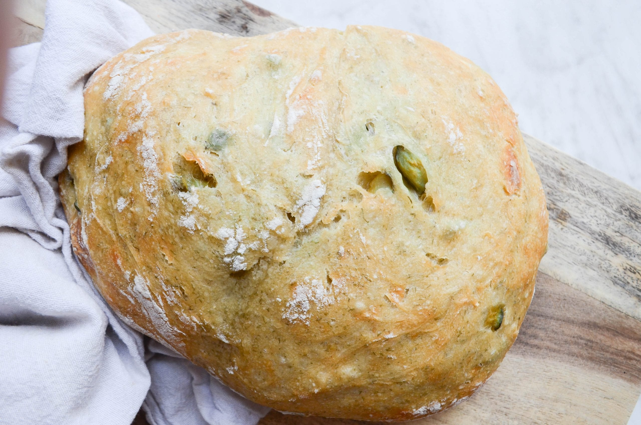 No Knead Artisan Pickle Bread