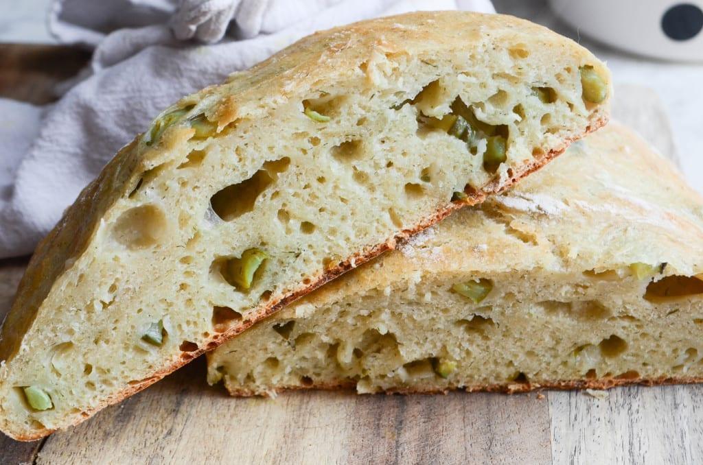 No Knead Artisan Pickle Bread