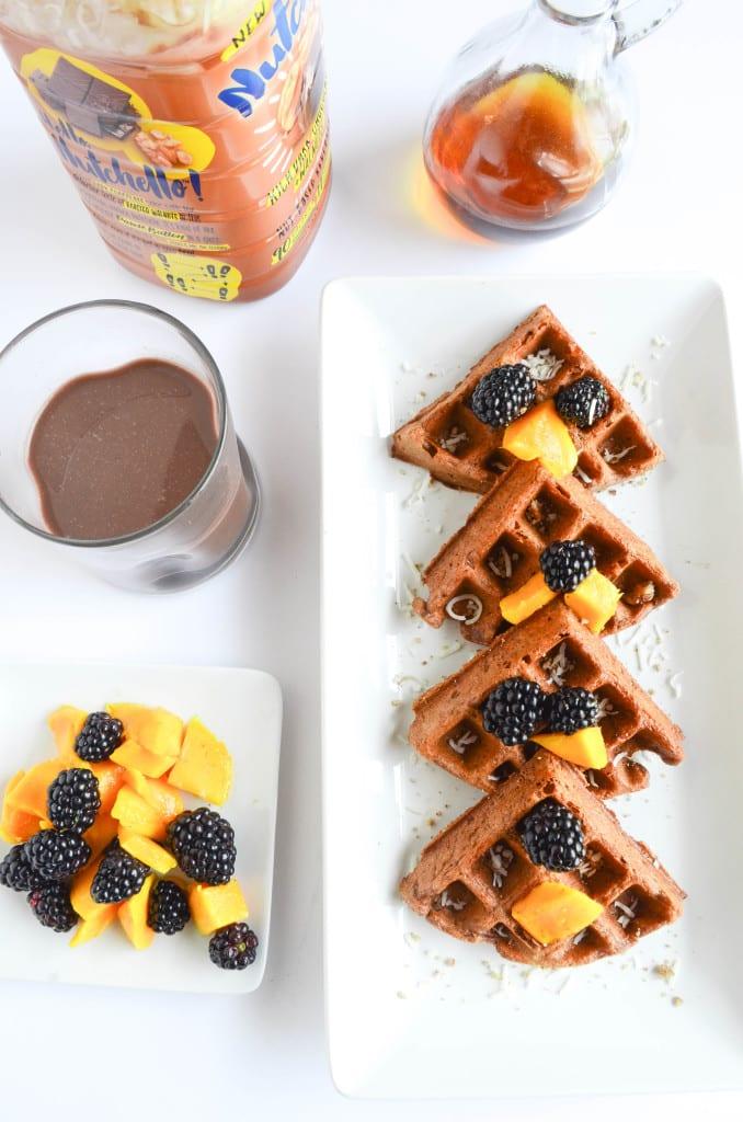 Chocolate, Coconut and Walnut Waffles