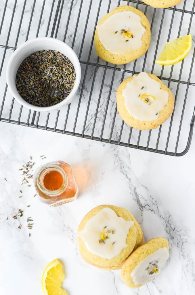 Soft Baked Lemon Cookies With Lavender Glaze