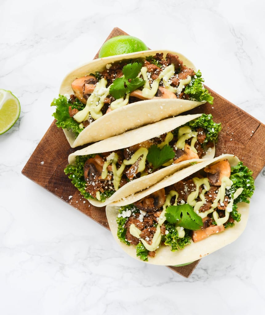 Spicy Chorizo Kale Tacos With Mushrooms and Avocado Crema