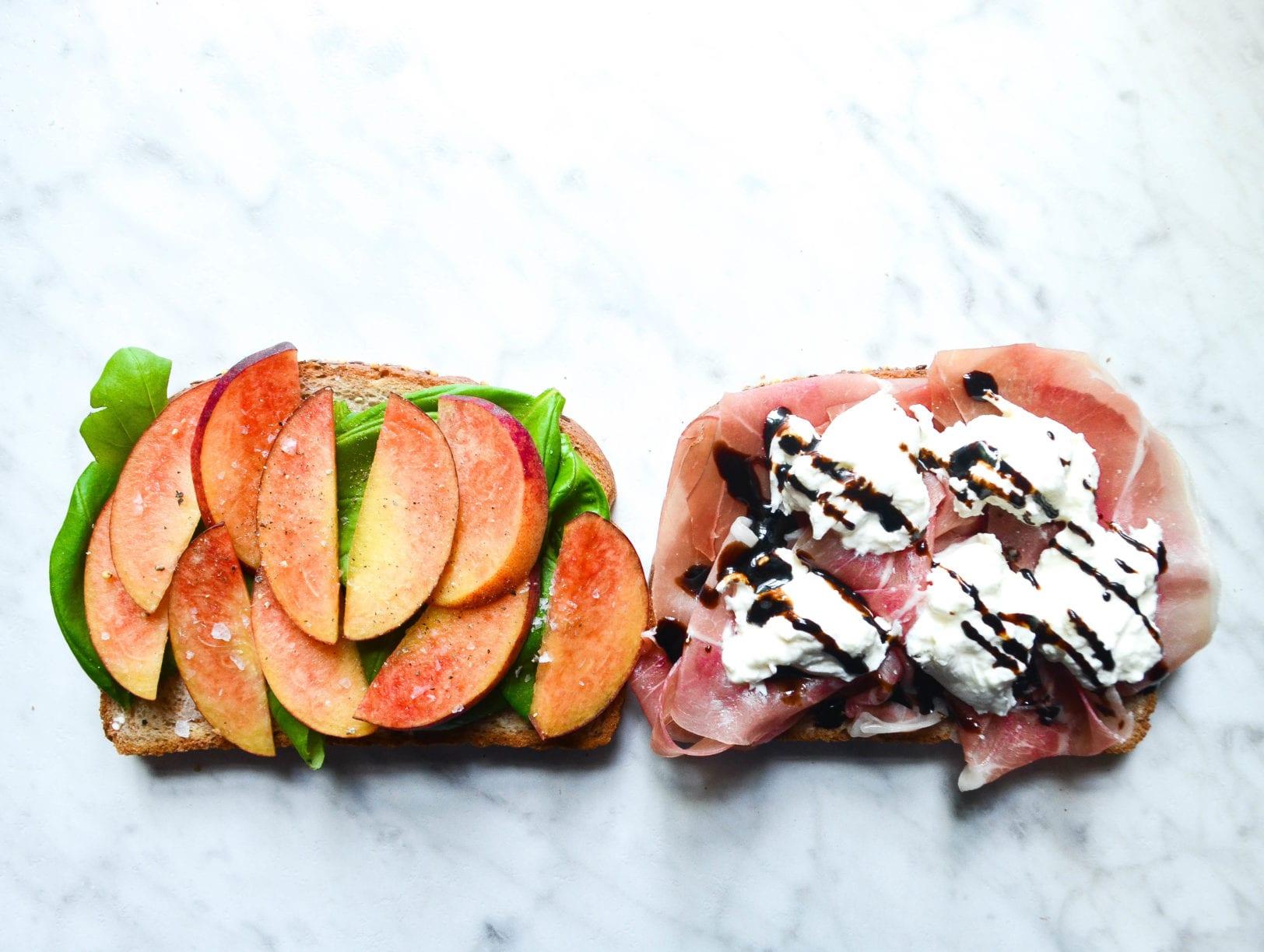 Peach Prosciutto Sandwich with Burrata