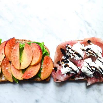 Peach and Prosciutto Sandwich With Burrata