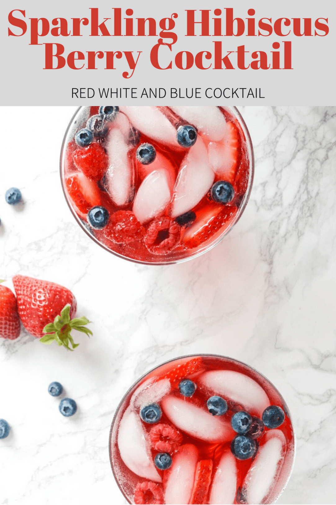 Red Cocktails with ice, and fruit