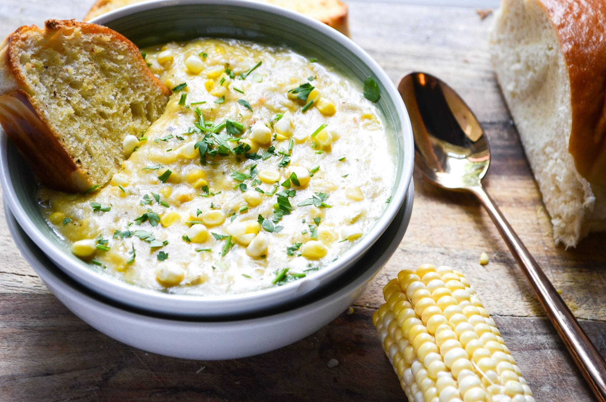 Creamy Corn Chowder With Goat Cheese