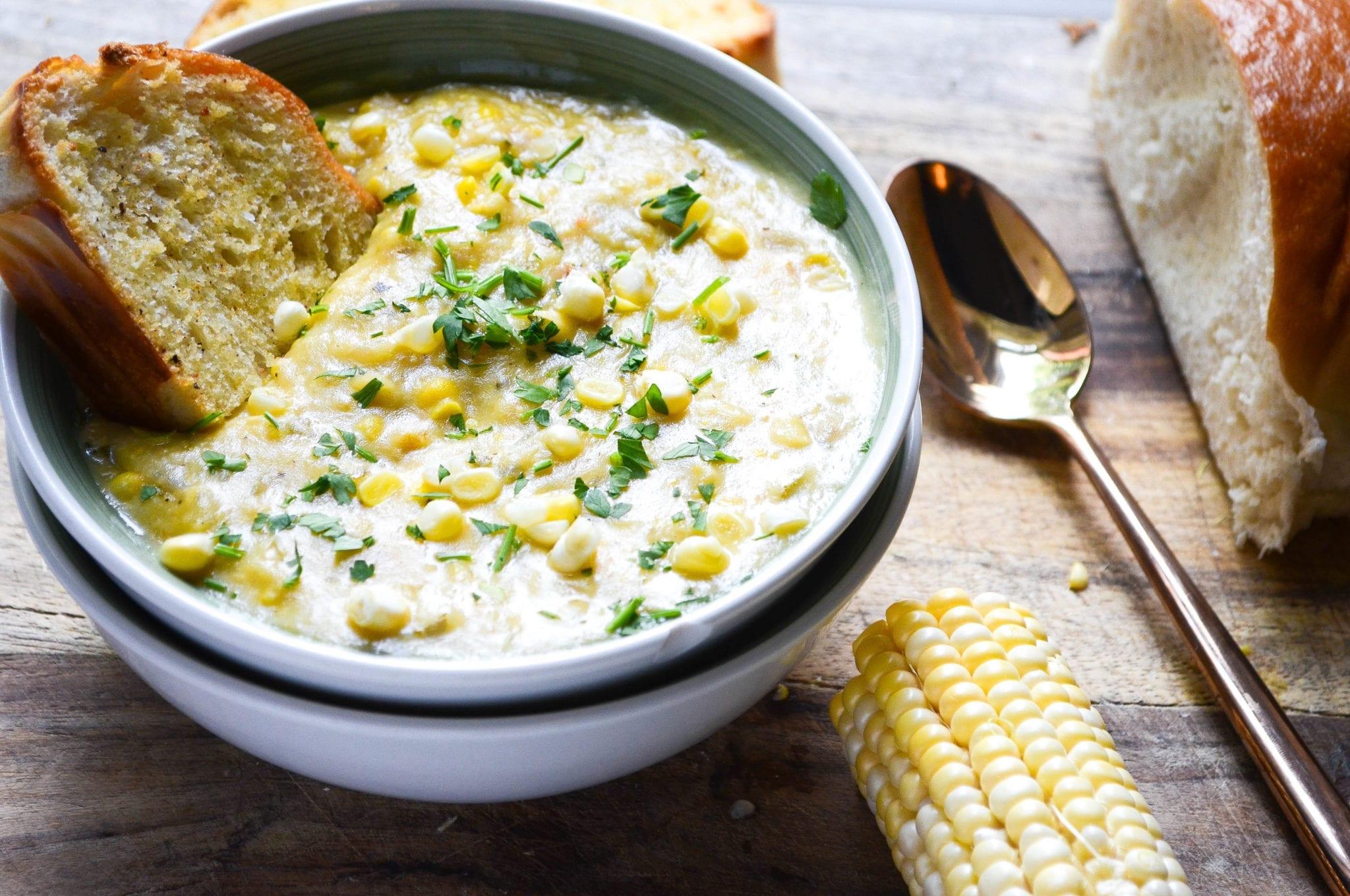 Creamy Corn Chowder With Goat Cheese
