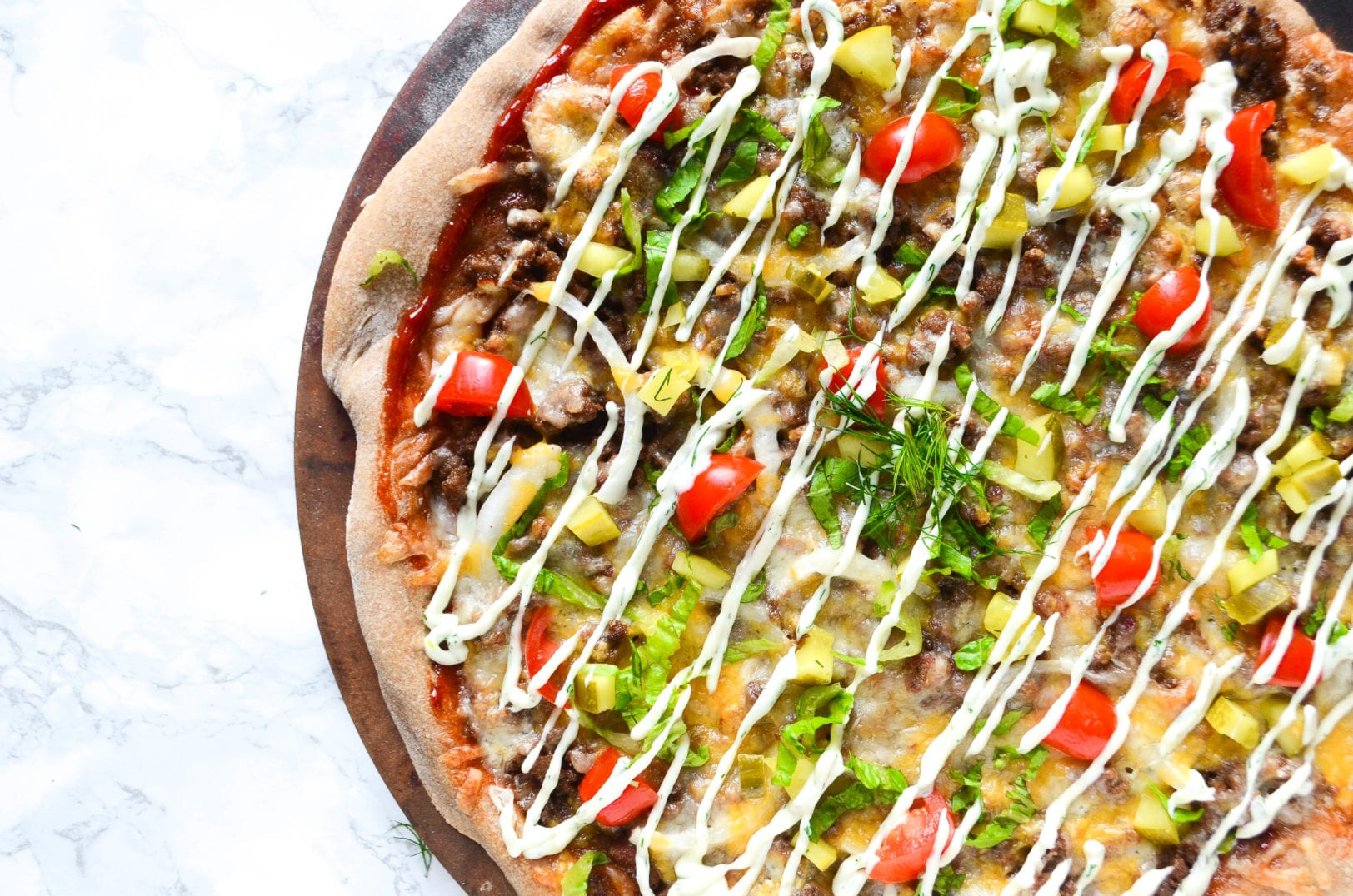 Bacon Cheeseburger Pizza with Dill Pickle Aioli