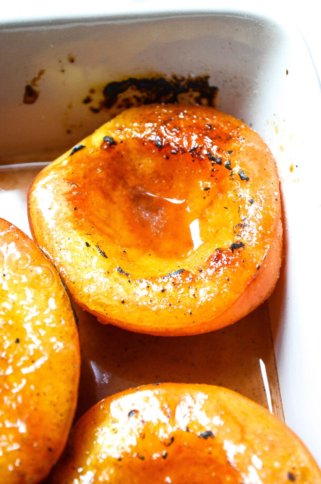 Baked Bourbon Soaked Nectarines With Brûléed Sugar