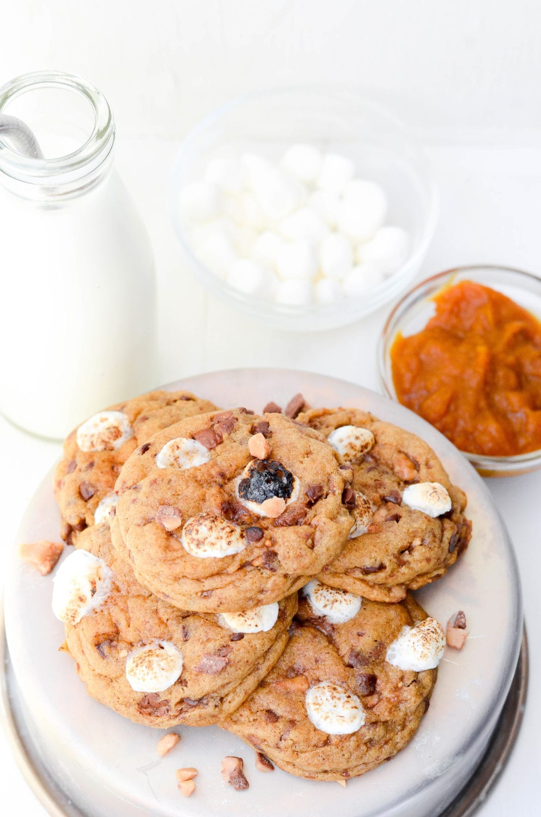 Pumpkin Toffee Marshmallow Cookies