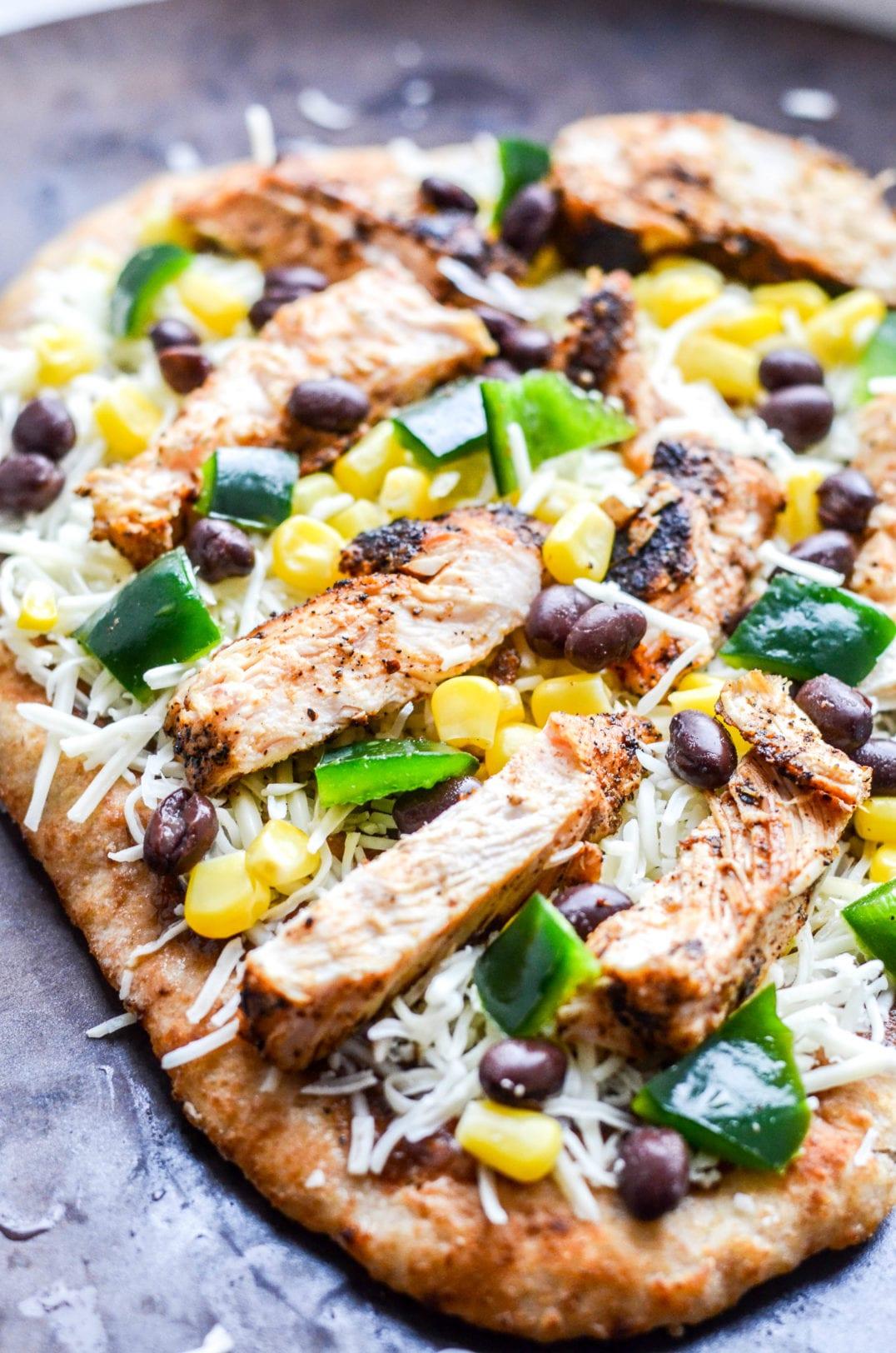 Southwestern Chicken Naan Pizza