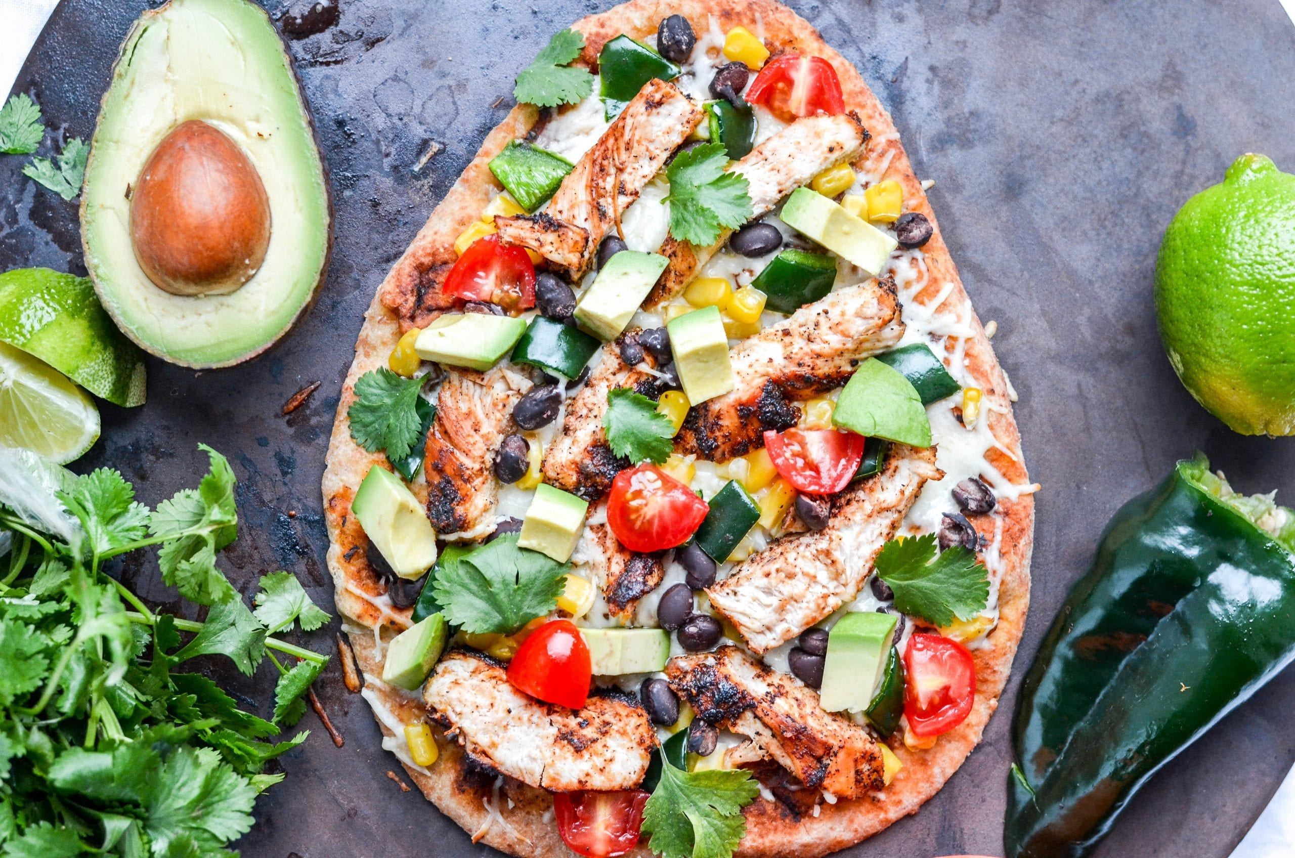 Southwestern Chicken Naan Pizza