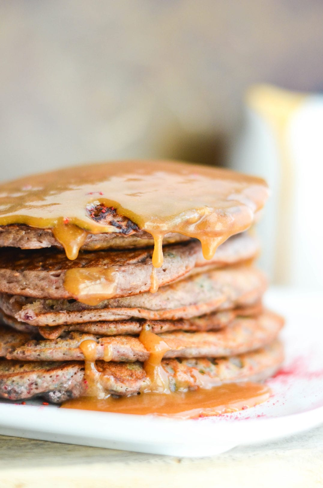 Raspberry Pancakes with Peanut Butter Maple Syrup