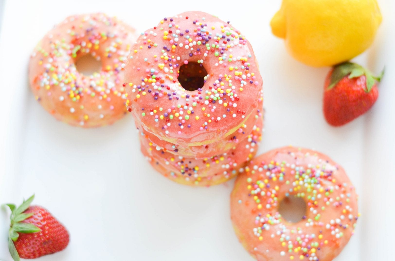 Baked Strawberry Lemon Donuts