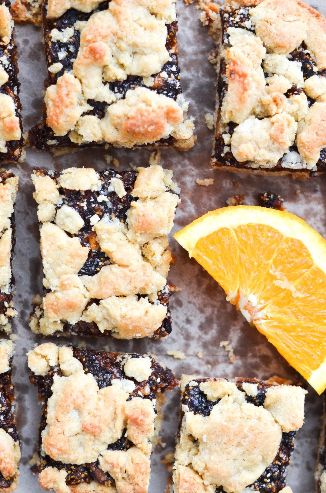 fig bars on tray with orange slice