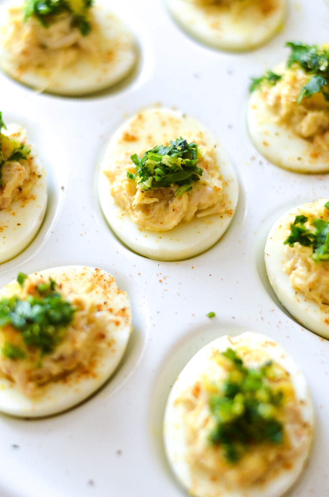 Crabby Deviled Eggs With Tarragon Gremolata