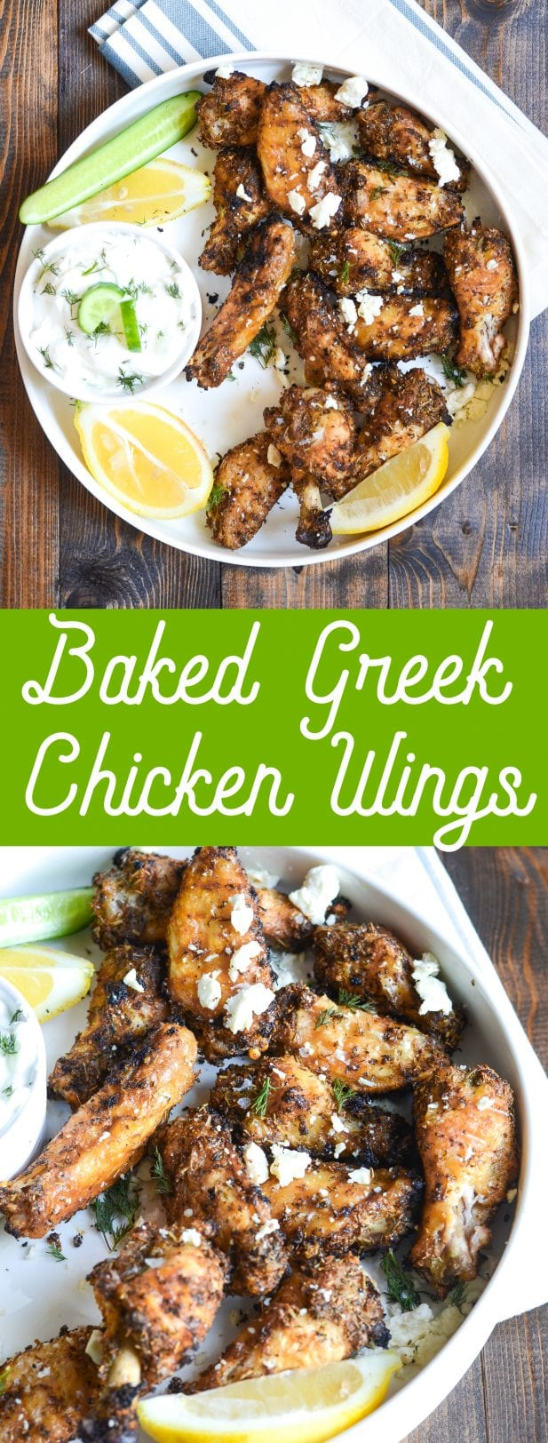 Baked Greek Chicken Wings with Tzatziki