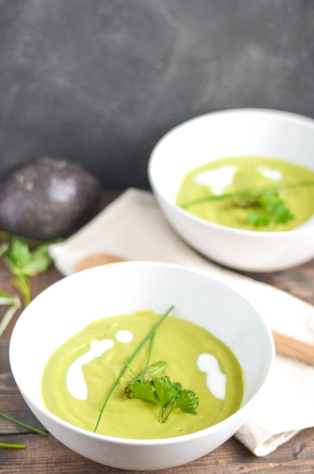Chilled Asparagus Avocado Soup