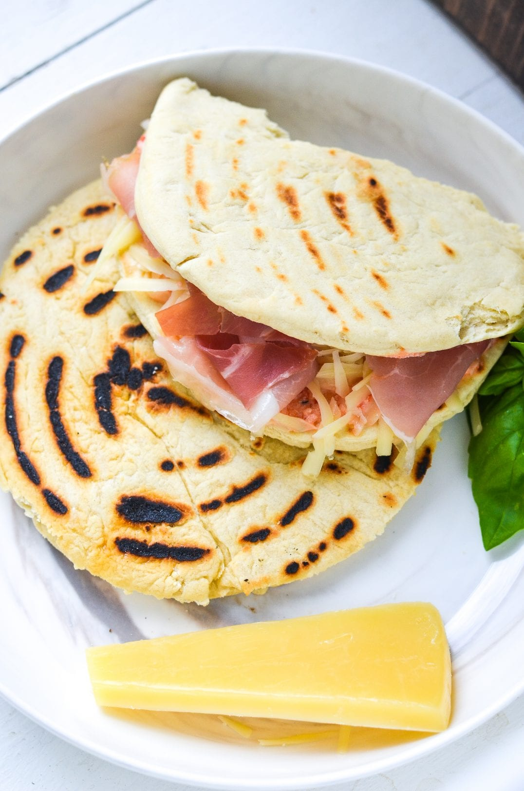 Cheesy Italian Piadina with Prosciutto and Roasted Red Pepper