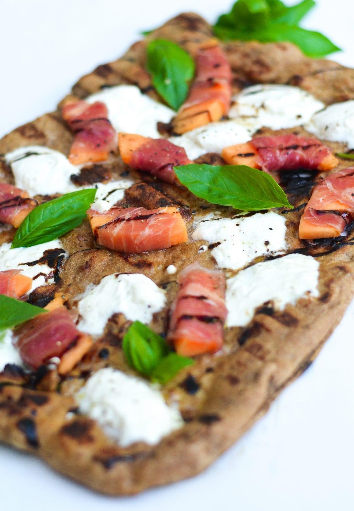 Cantaloupe, Prosciutto, and Burrata Grilled Pizza