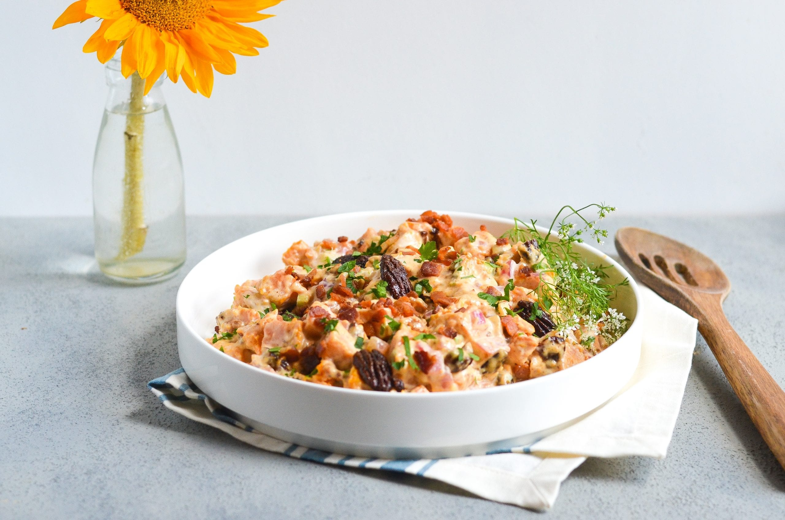 Sweet Potato Salad with Bacon and Spiced Pecans